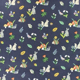 Dear Stella Poplin fabric - Navy blue Mushrooms x 10cm