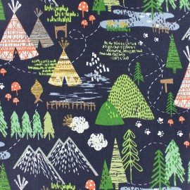 Tissu Popeline Dear Stella May the forest be with you! - bleu marine x 10cm