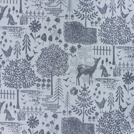 Dear Stella Poplin fabric - blue Moonlit forest x 10cm