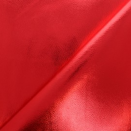 Leather Imitation - red Metallic x 10cm
