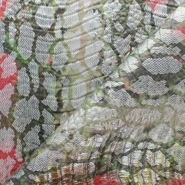 Tissu Simili cuir - Cobra - Argent/vert x 10cm
