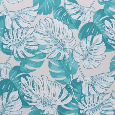 Tissu toile cirée Hawai - gris clair x 10cm