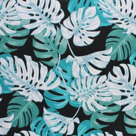 Oilcloth fabric - black Hawaï x 10cm