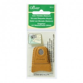 Leather Thimble with Coin Disk - Clover