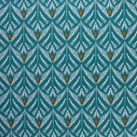 Tissu toile cirée Pinata - vert paon x 10cm