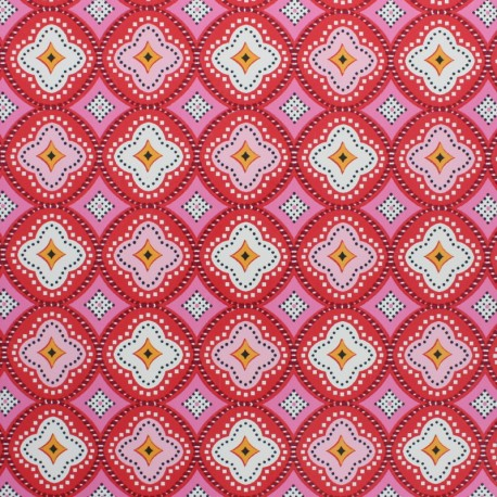 Oilcloth fabric - Red Praia de Faro x 10cm