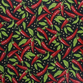 Oilcloth fabric - black Pimientos x 10cm