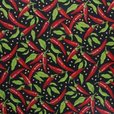 Tissu toile cirée Pimientos - noir x 10cm
