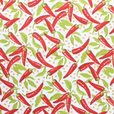 Oilcloth fabric - white Pimientos x 10cm