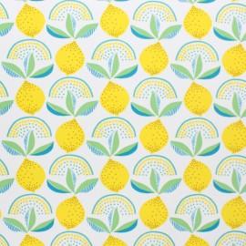 Oilcloth fabric - white Lemonade x 10cm
