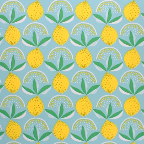 Oilcloth fabric - Aqua blue Lemonade x 10cm
