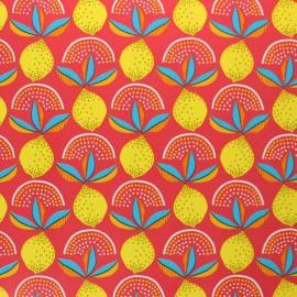 Oilcloth fabric - red Lemonade x 10cm