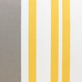 Matte coated Polycotton fabric - yellow/Taupe St Jean de luz x 10cm
