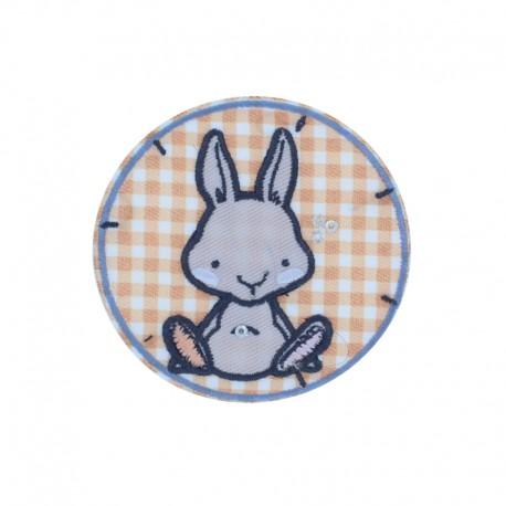 Vichy Rabbit Iron-On Patch - Orange