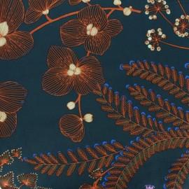 Tissu velours ras Phoenix - bleu pétrole x10cm