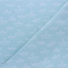 Stitched cotton fabric - Mint Maman les P'tits bateaux x 10cm