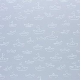 Stitched cotton fabric - Grey Maman les P'tits bateaux x 10cm