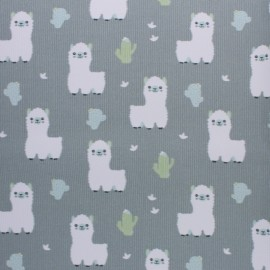 Stitched cotton fabric - Green Baby Lama x 10cm