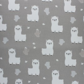 Stitched cotton fabric - Grey Baby Lama x 10cm