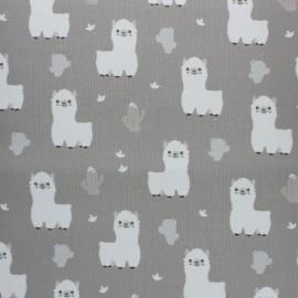 Tissu piqué de coton Baby Lama - gris x 10cm