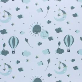 Tissu piqué de coton Love to the moon - vert x 10cm