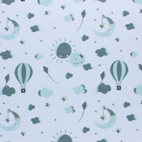 Stitched cotton fabric - Green Love to the moon x 10cm