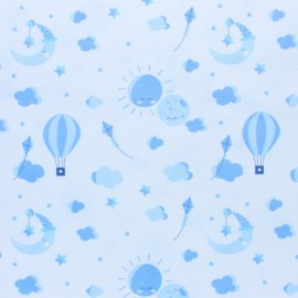 Stitched cotton fabric - Light blue Love to the moon x 10cm