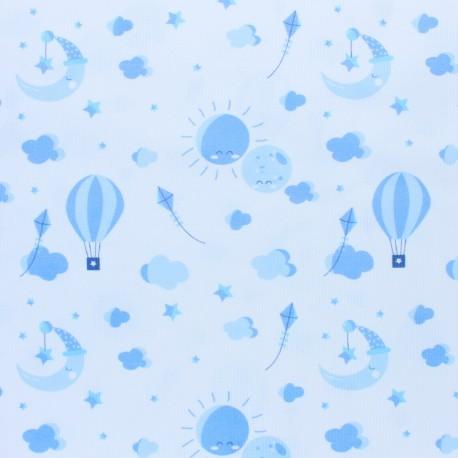 Tissu piqué de coton Love to the moon - bleu ciel x 10cm