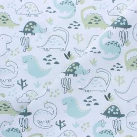 Stitched cotton fabric - Light blue Dino x 10cm
