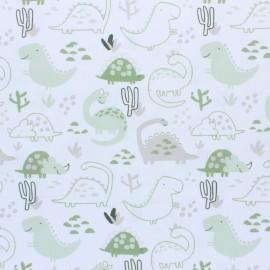 ♥ Coupon 10 cm X 160 cm ♥ Tissu piqué de coton Dino - vert pomme
