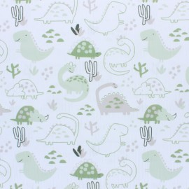 Tissu piqué de coton Dino - vert x 10cm