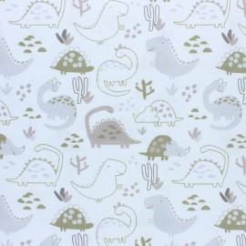 Tissu piqué de coton Dino - vert pomme x 10cm