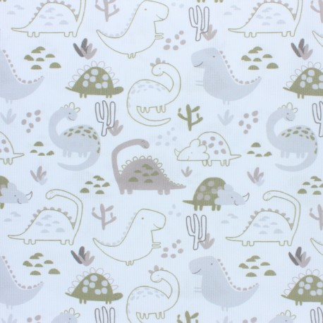 Stitched cotton fabric - apple green Dino x 10cm