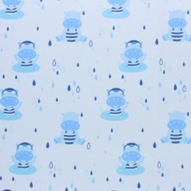 Stitched cotton fabric - Light blue Hippo x 10cm