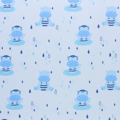 Stitched cotton fabric - Light blue Hippo x 10cm