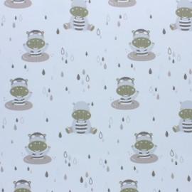 Tissu piqué de coton Hippo - vert x 10cm