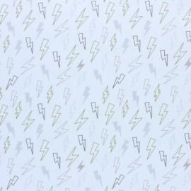 Stitched cotton fabric - grey Storm x 10cm