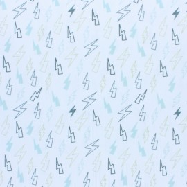 Stitched cotton fabric - grey Storm x 10cm