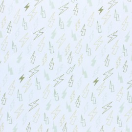 Stitched cotton fabric - green Storm x 10cm