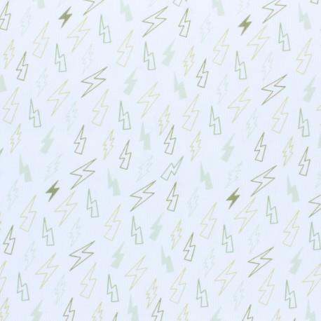Stitched cotton fabric - green Storm x 10cm