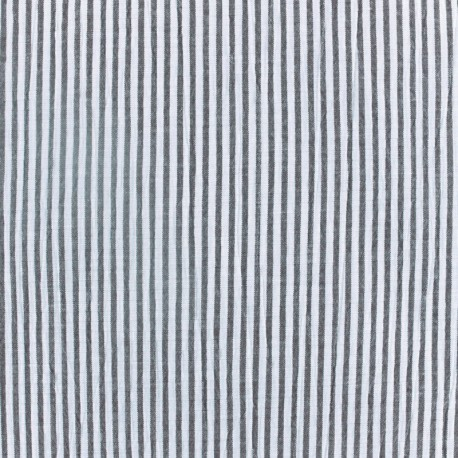 Striped Seersucker Fabric Black Ma Petite Mercerie