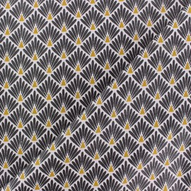 Cretonne cotton Fabric Ecailles dorées - black x 10cm