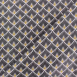 Cretonne cotton Fabric Ecailles dorées - black x 10cm