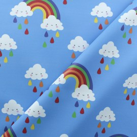 Tissu enduit spécial ciré Cloudy Rainbow - bleu x 10cm