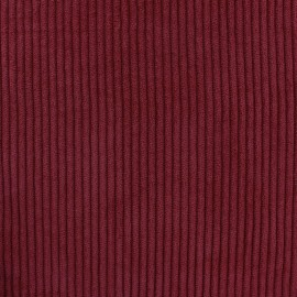 Thick ribbed velvet fabric - Burgundy red x 10cm