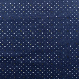 Cotton jersey fabric - Navy dot x 10cm