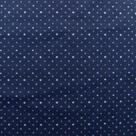 Tissu jersey Pois colorés - bleu x 10cm