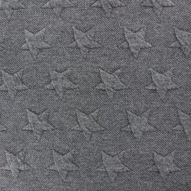 Jersey jacquard fabric Stars - dark grey x 10cm