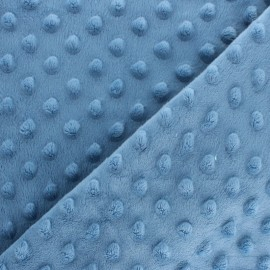 Dotted minkee velvet fabric - denim  blue x 10cm