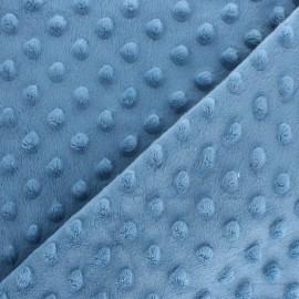 Tissu Velours minkee doux relief à pois - bleu denim x 10cm